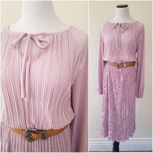 💕Vtg 70s Pleated Dusty Rose Fit & Flare Dress